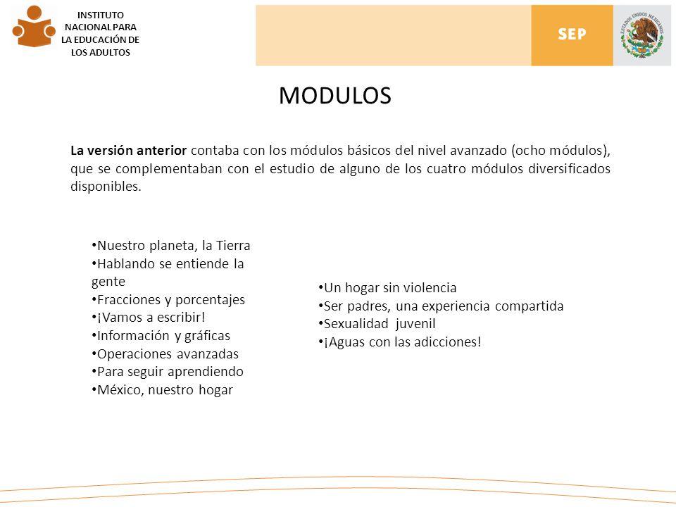 MODULOS INSTITUTO NACIONAL PARA LA EDUCACIÓN DE LOS ADULTOS La versión anterior contaba con los módulos básicos del nivel avanzado (ocho módulos), que se complementaban con el estudio de alguno de los cuatro módulos diversificados disponibles.