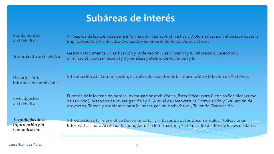 Subáreas de interés Laura Espinoza Rojas5 Fundamentos archivísticos Principios de las Ciencias de la Información, Teoría Archivística y Diplomática, a