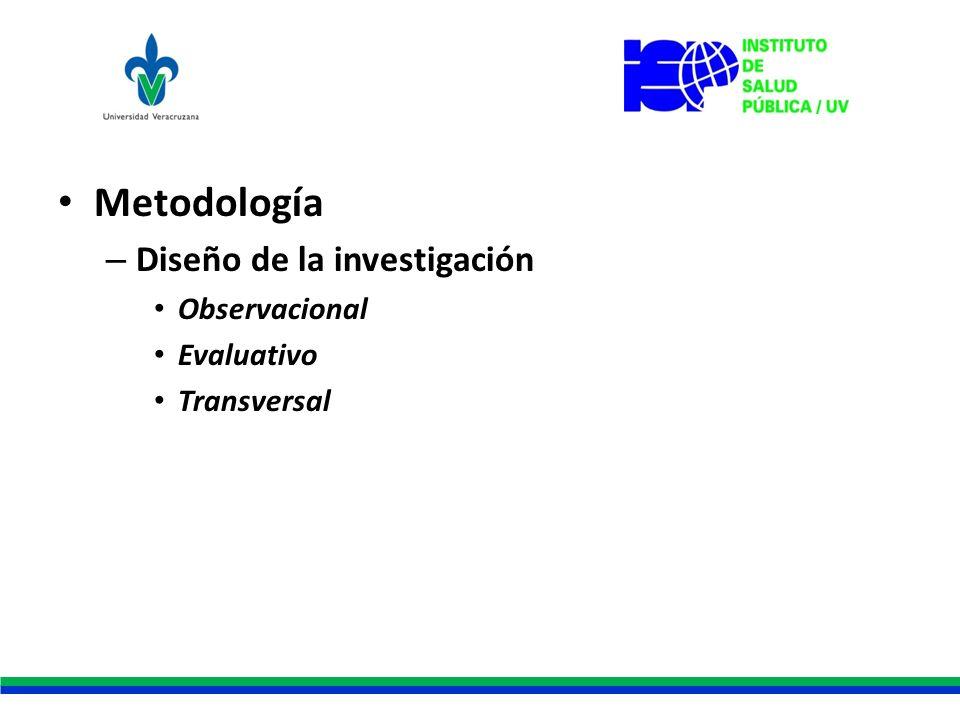 Metodología – Diseño de la investigación Observacional Evaluativo Transversal