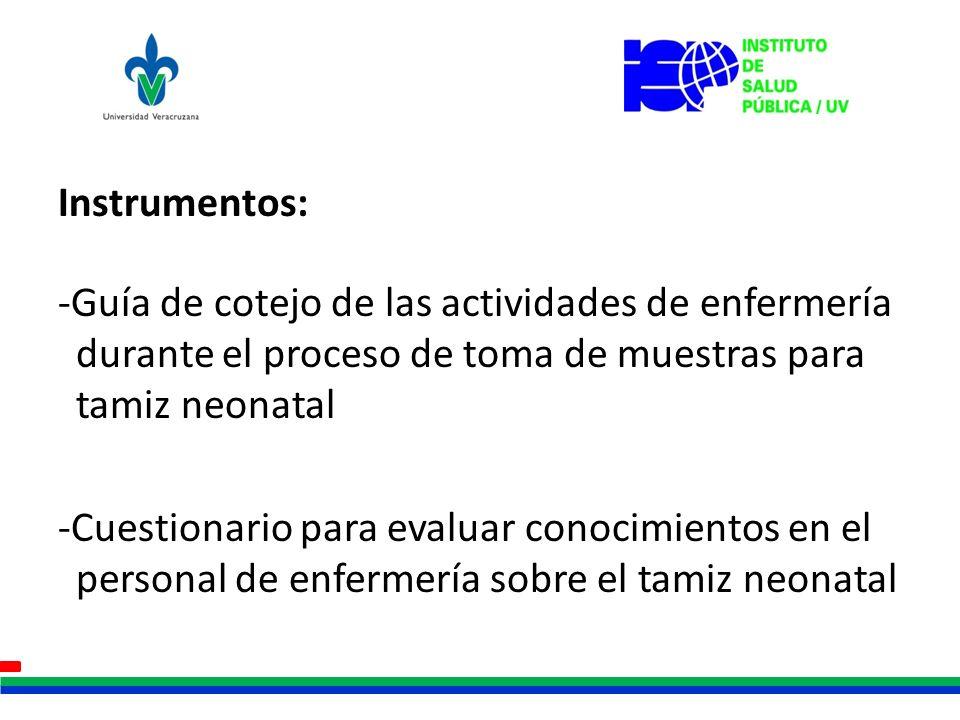 Instrumentos: -Guía de cotejo de las actividades de enfermería durante el proceso de toma de muestras para tamiz neonatal -Cuestionario para evaluar c