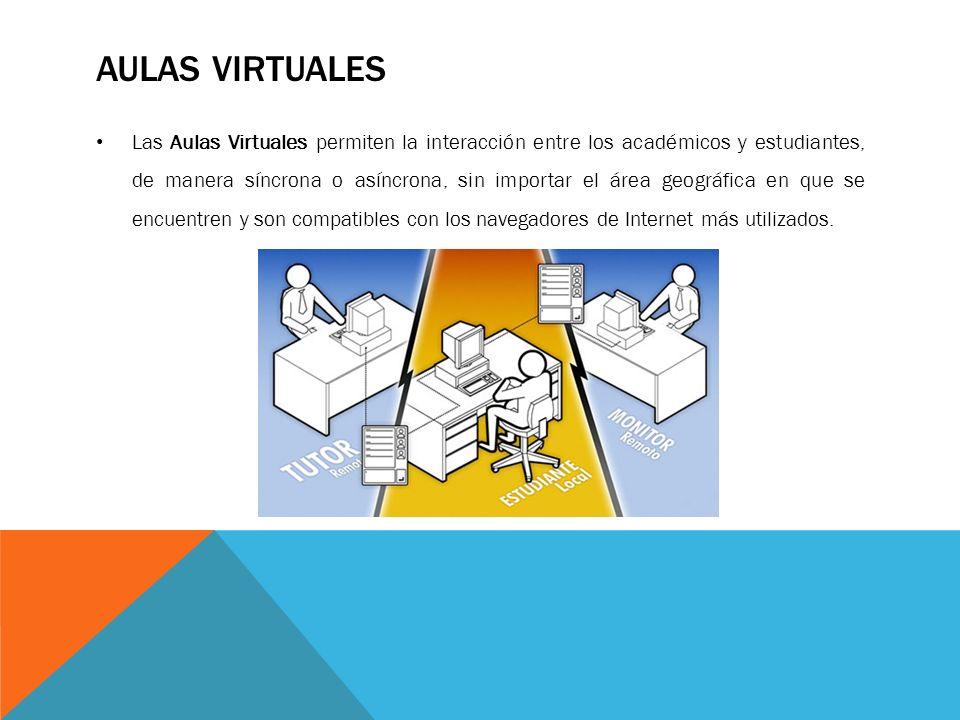 AULAS VIRTUALES Las Aulas Virtuales permiten la interacción entre los académicos y estudiantes, de manera síncrona o asíncrona, sin importar el área g