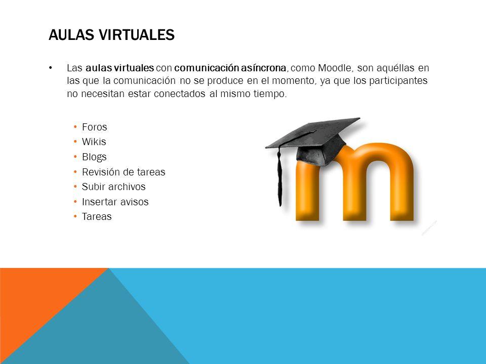 AULAS VIRTUALES Las aulas virtuales con comunicación asíncrona, como Moodle, son aquéllas en las que la comunicación no se produce en el momento, ya q