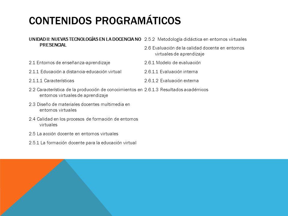 CONTENIDOS PROGRAMÁTICOS UNIDAD II: NUEVAS TECNOLOGÍAS EN LA DOCENCIA NO PRESENCIAL 2.1 Entornos de enseñanza-aprendizaje 2.1.1 Educación a distancia-