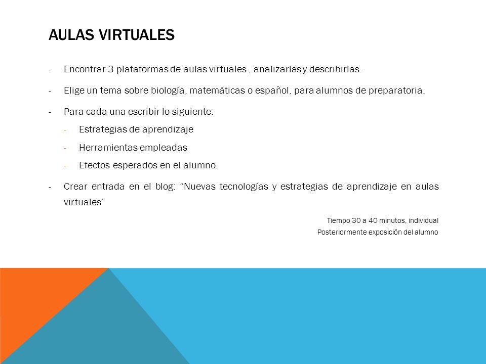 AULAS VIRTUALES -Encontrar 3 plataformas de aulas virtuales, analizarlas y describirlas. -Elige un tema sobre biología, matemáticas o español, para al