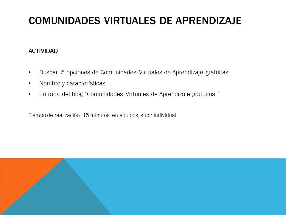 COMUNIDADES VIRTUALES DE APRENDIZAJE ACTIVIDAD Buscar 5 opciones de Comunidades Virtuales de Aprendizaje gratuitas Nombre y características Entrada de