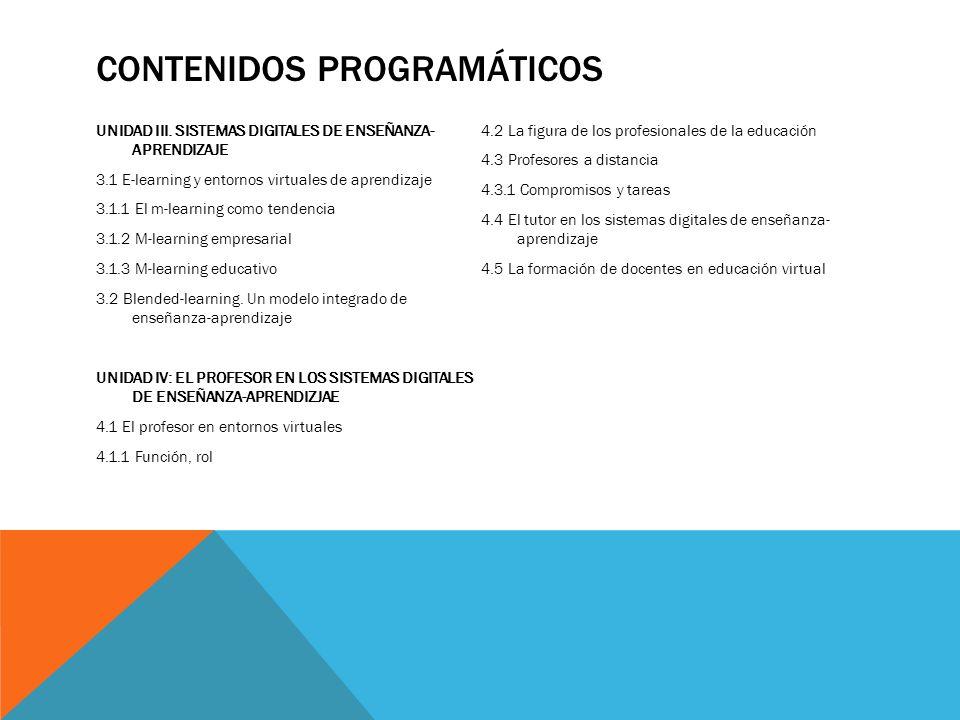 CONTENIDOS PROGRAMÁTICOS UNIDAD III. SISTEMAS DIGITALES DE ENSEÑANZA- APRENDIZAJE 3.1 E-learning y entornos virtuales de aprendizaje 3.1.1 El m-learni