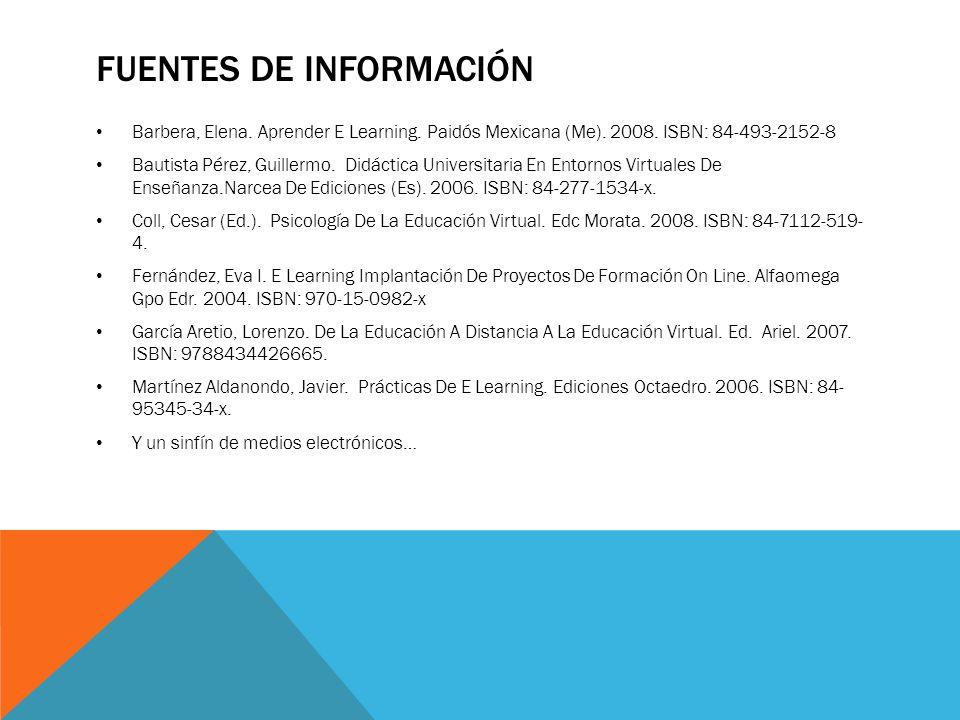 FUENTES DE INFORMACIÓN Barbera, Elena. Aprender E Learning. Paidós Mexicana (Me). 2008. ISBN: 84-493-2152-8 Bautista Pérez, Guillermo. Didáctica Unive