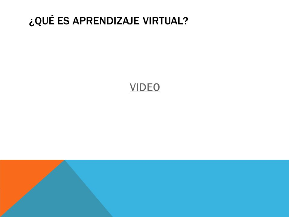 ¿QUÉ ES APRENDIZAJE VIRTUAL? VIDEO