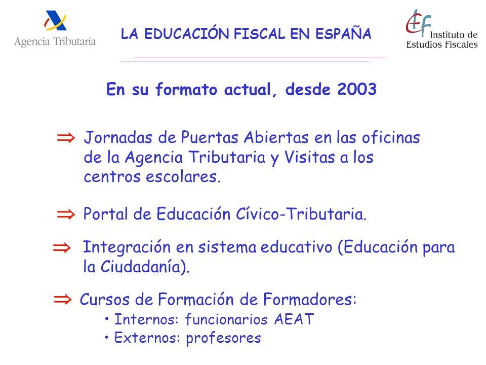 LA EDUCACIÓN FISCAL EN ESPAÑA En su formato actual, desde 2003 Jornadas de Puertas Abiertas en las oficinas de la Agencia Tributaria y Visitas a los c
