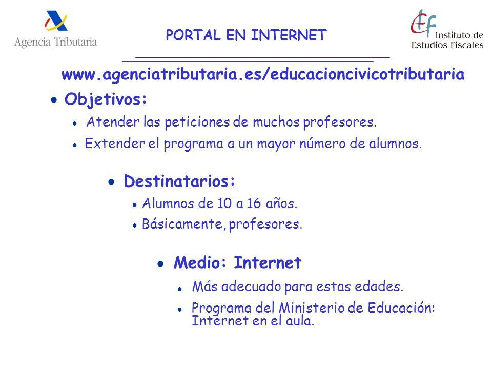 Objetivos: PORTAL EN INTERNET Destinatarios: Medio: Internet Atender las peticiones de muchos profesores. Extender el programa a un mayor número de al
