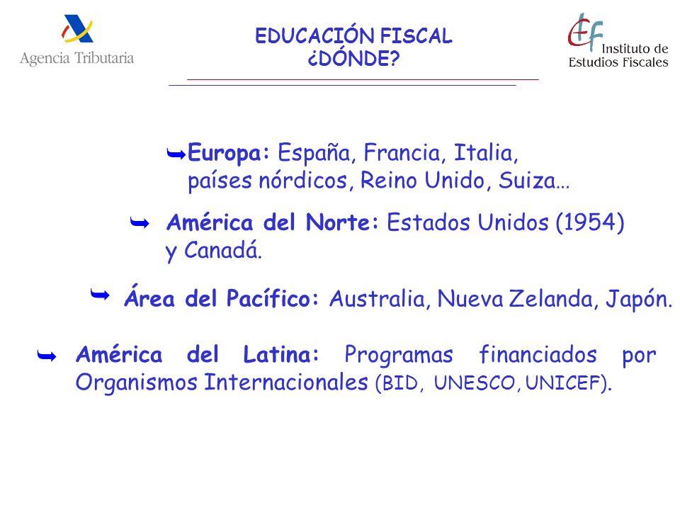 EDUCACIÓN FISCAL ¿DÓNDE? Europa: España, Francia, Italia, países nórdicos, Reino Unido, Suiza… América del Norte: Estados Unidos (1954) y Canadá. Amér
