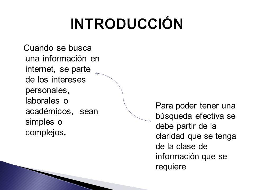 Cuando se busca una información en internet, se parte de los intereses personales, laborales o académicos, sean simples o complejos. Para poder tener