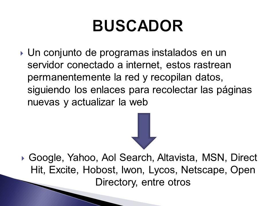 Un conjunto de programas instalados en un servidor conectado a internet, estos rastrean permanentemente la red y recopilan datos, siguiendo los enlaces para recolectar las páginas nuevas y actualizar la web Google, Yahoo, Aol Search, Altavista, MSN, Direct Hit, Excite, Hobost, Iwon, Lycos, Netscape, Open Directory, entre otros