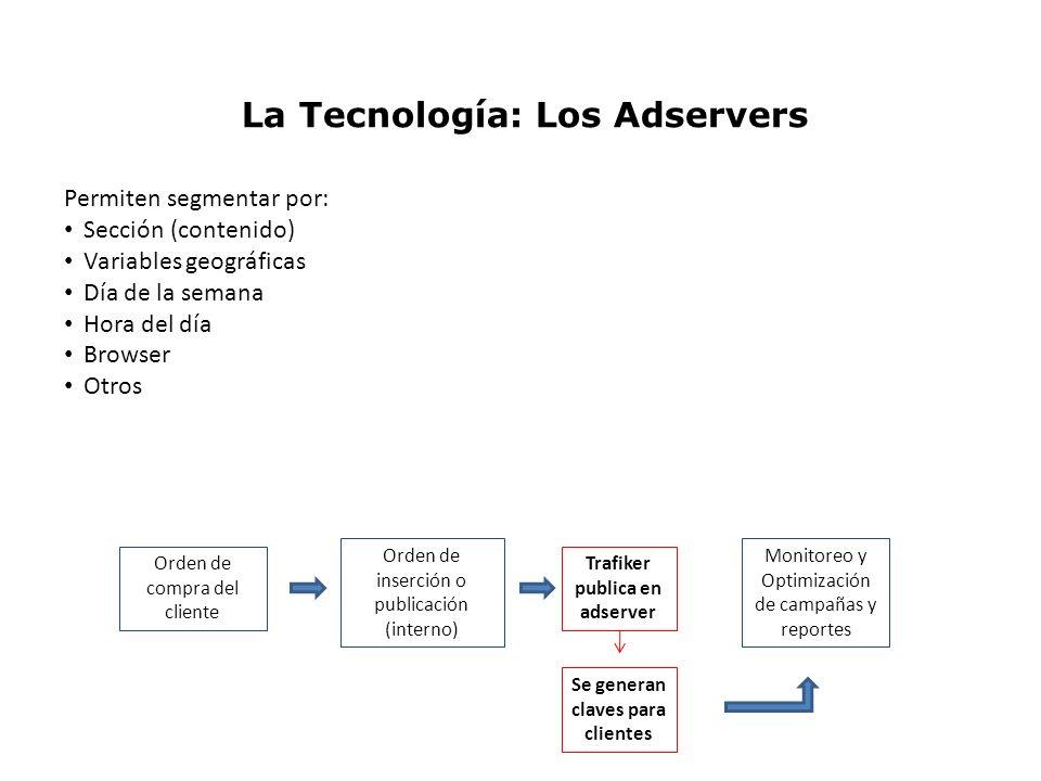 La Tecnología: Los Adservers Permiten segmentar por: Sección (contenido) Variables geográficas Día de la semana Hora del día Browser Otros Orden de co