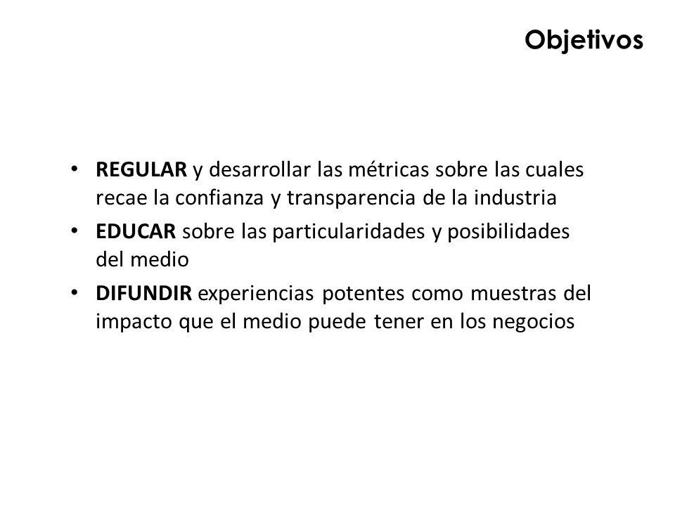 Objetivos REGULAR y desarrollar las métricas sobre las cuales recae la confianza y transparencia de la industria EDUCAR sobre las particularidades y p