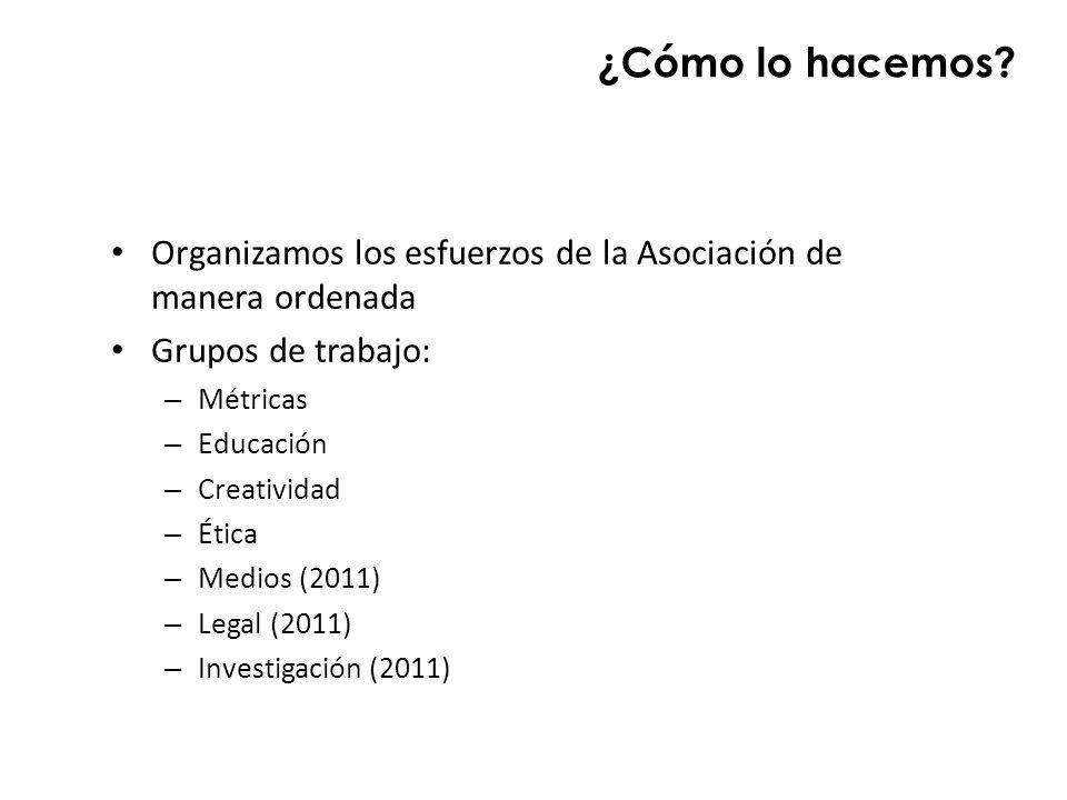 ¿Cómo lo hacemos? Organizamos los esfuerzos de la Asociación de manera ordenada Grupos de trabajo: – Métricas – Educación – Creatividad – Ética – Medi