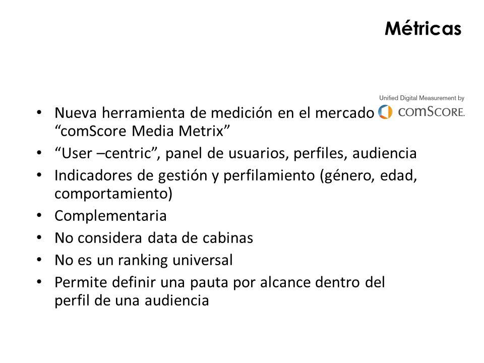 Métricas Nueva herramienta de medición en el mercado comScore Media Metrix User –centric, panel de usuarios, perfiles, audiencia Indicadores de gestió