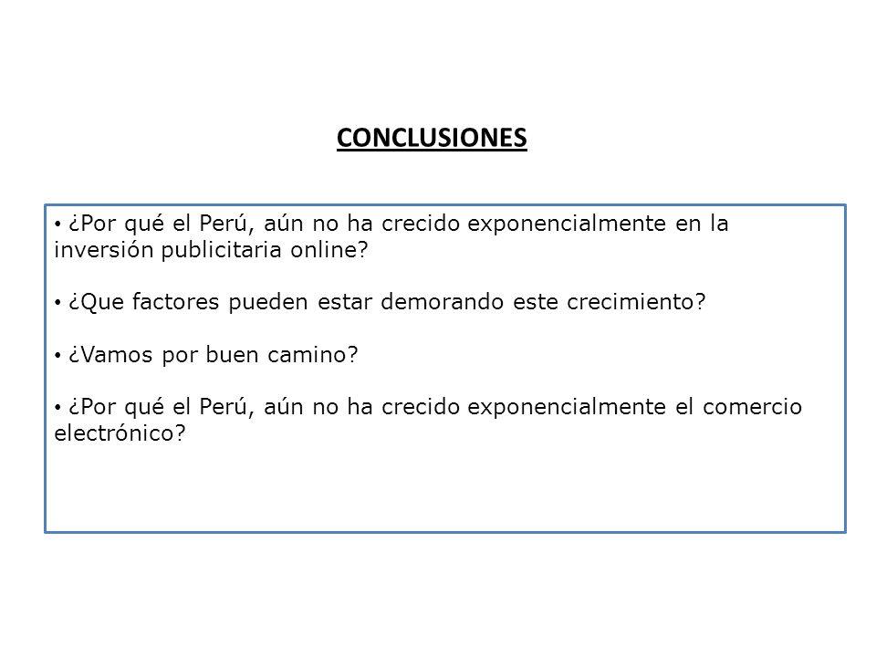 CONCLUSIONES ¿Por qué el Perú, aún no ha crecido exponencialmente en la inversión publicitaria online? ¿Que factores pueden estar demorando este creci