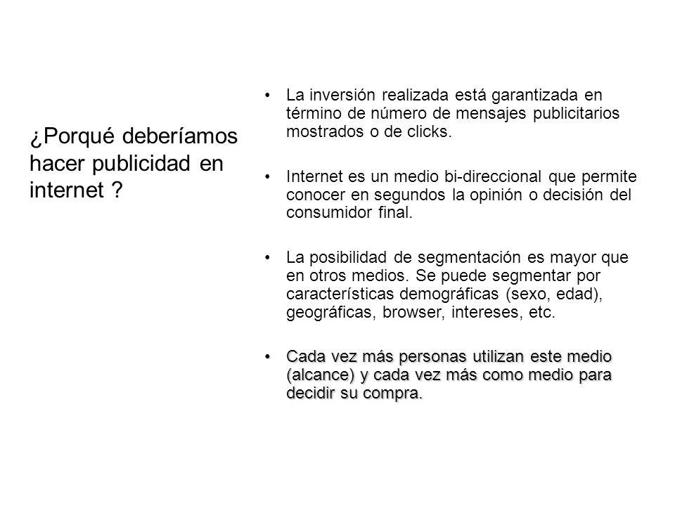 ¿Porqué deberíamos hacer publicidad en internet ? La inversión realizada está garantizada en término de número de mensajes publicitarios mostrados o d