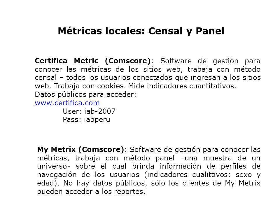 Certifica Metric (Comscore): Software de gestión para conocer las métricas de los sitios web, trabaja con método censal – todos los usuarios conectado