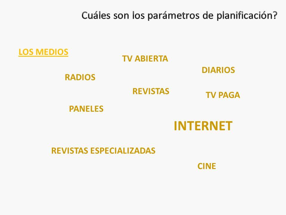 LOS MEDIOS TV ABIERTA REVISTAS RADIOS PANELES CINE TV PAGA REVISTAS ESPECIALIZADAS INTERNET DIARIOS