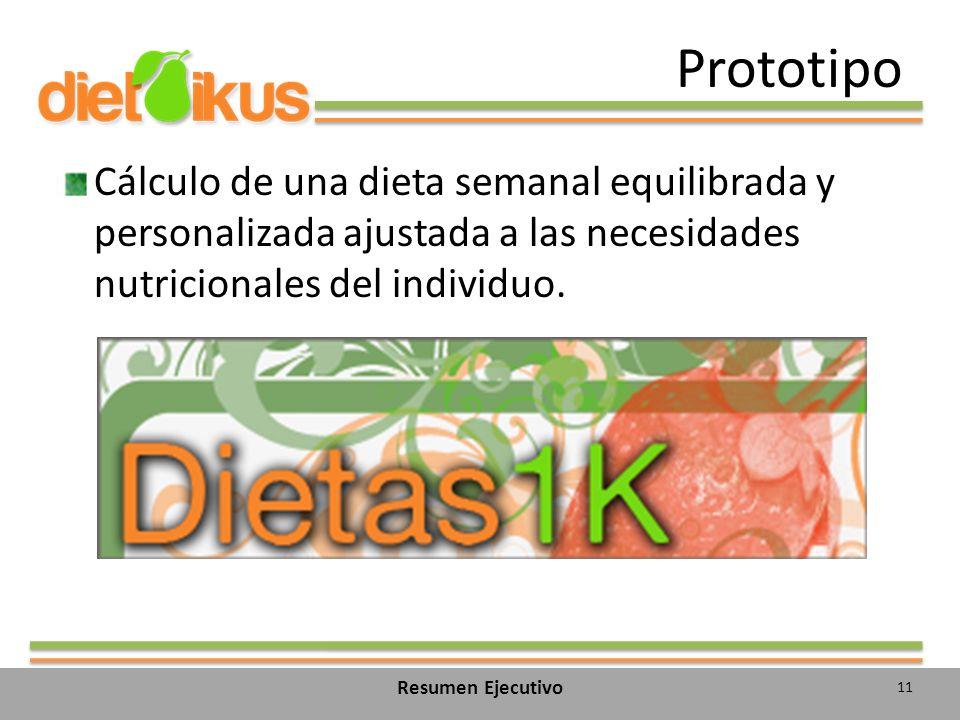 Prototipo Cálculo de una dieta semanal equilibrada y personalizada ajustada a las necesidades nutricionales del individuo.