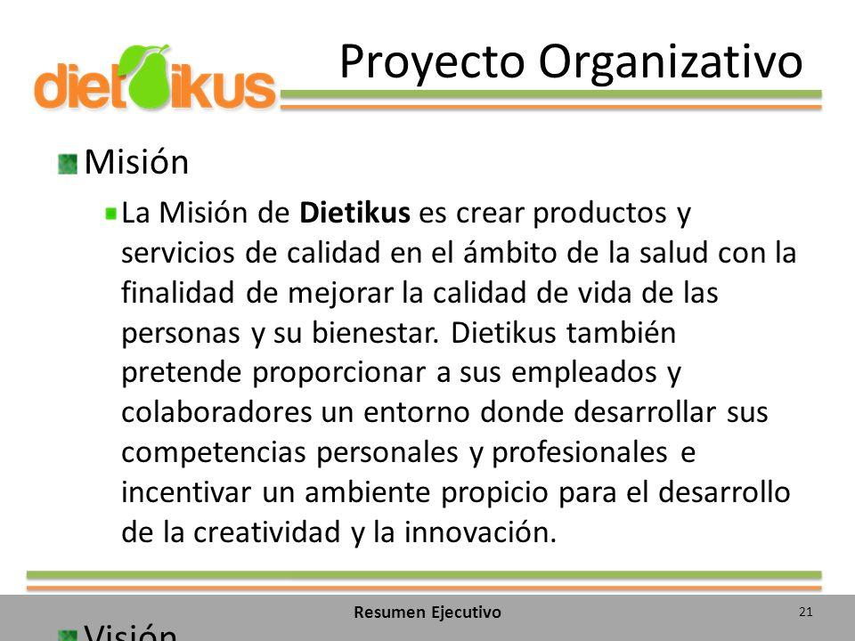 Proyecto Organizativo Misión La Misión de Dietikus es crear productos y servicios de calidad en el ámbito de la salud con la finalidad de mejorar la calidad de vida de las personas y su bienestar.