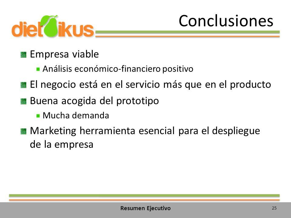 Conclusiones Empresa viable Análisis económico-financiero positivo El negocio está en el servicio más que en el producto Buena acogida del prototipo Mucha demanda Marketing herramienta esencial para el despliegue de la empresa 25 Resumen Ejecutivo