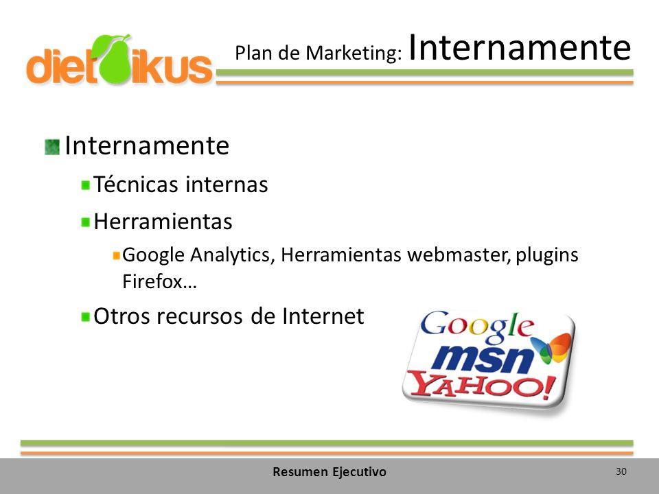 Plan de Marketing: Internamente Internamente Técnicas internas Herramientas Google Analytics, Herramientas webmaster, plugins Firefox… Otros recursos de Internet 30 Resumen Ejecutivo
