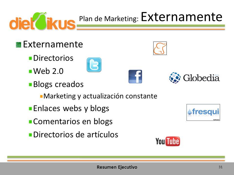 Plan de Marketing: Externamente Externamente Directorios Web 2.0 Blogs creados Marketing y actualización constante Enlaces webs y blogs Comentarios en blogs Directorios de artículos 31 Resumen Ejecutivo