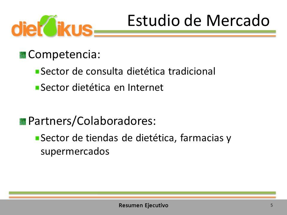 Estudio de Mercado Competencia: Sector de consulta dietética tradicional Sector dietética en Internet Partners/Colaboradores: Sector de tiendas de dietética, farmacias y supermercados 5 Resumen Ejecutivo
