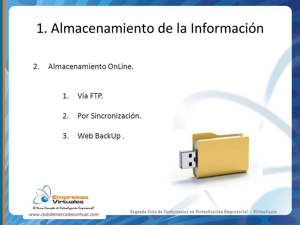 1. Almacenamiento de la Información 2.Almacenamiento OnLine. 1.Vía FTP. 2.Por Sincronización. 3.Web BackUp.