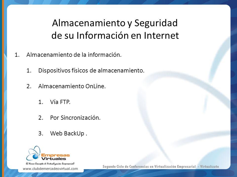 Almacenamiento y Seguridad de su Información en Internet 1.Almacenamiento de la información. 1.Dispositivos físicos de almacenamiento. 2.Almacenamient