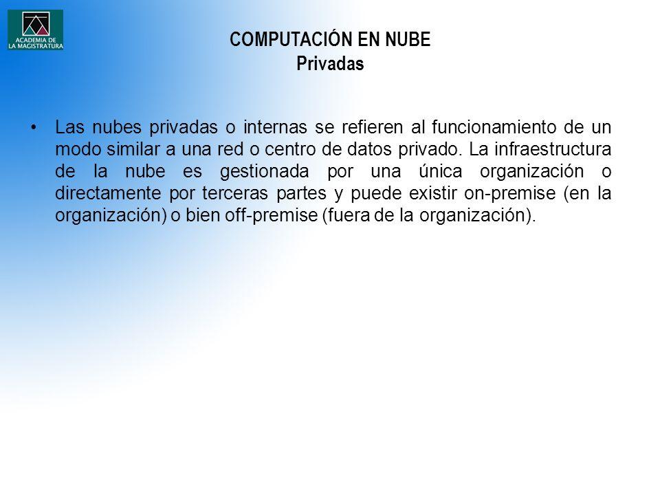 Las nubes privadas o internas se refieren al funcionamiento de un modo similar a una red o centro de datos privado. La infraestructura de la nube es g