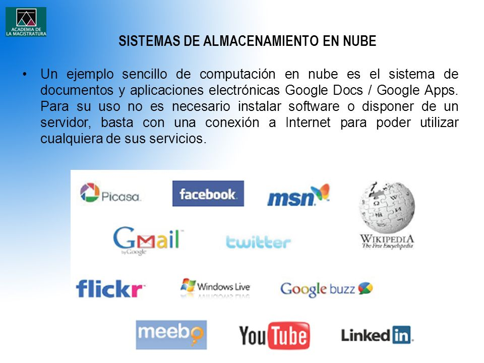 SISTEMAS DE ALMACENAMIENTO EN NUBE Un ejemplo sencillo de computación en nube es el sistema de documentos y aplicaciones electrónicas Google Docs / Google Apps.
