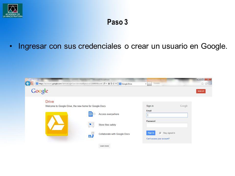 Paso 3 Ingresar con sus credenciales o crear un usuario en Google.