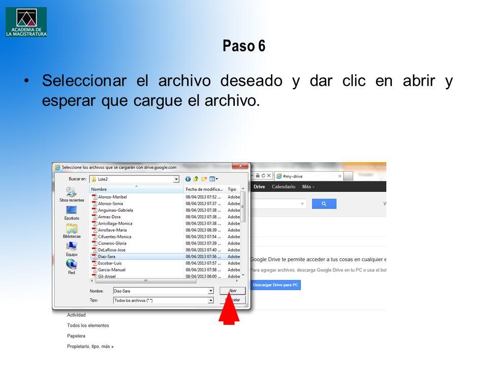 Paso 6 Seleccionar el archivo deseado y dar clic en abrir y esperar que cargue el archivo.
