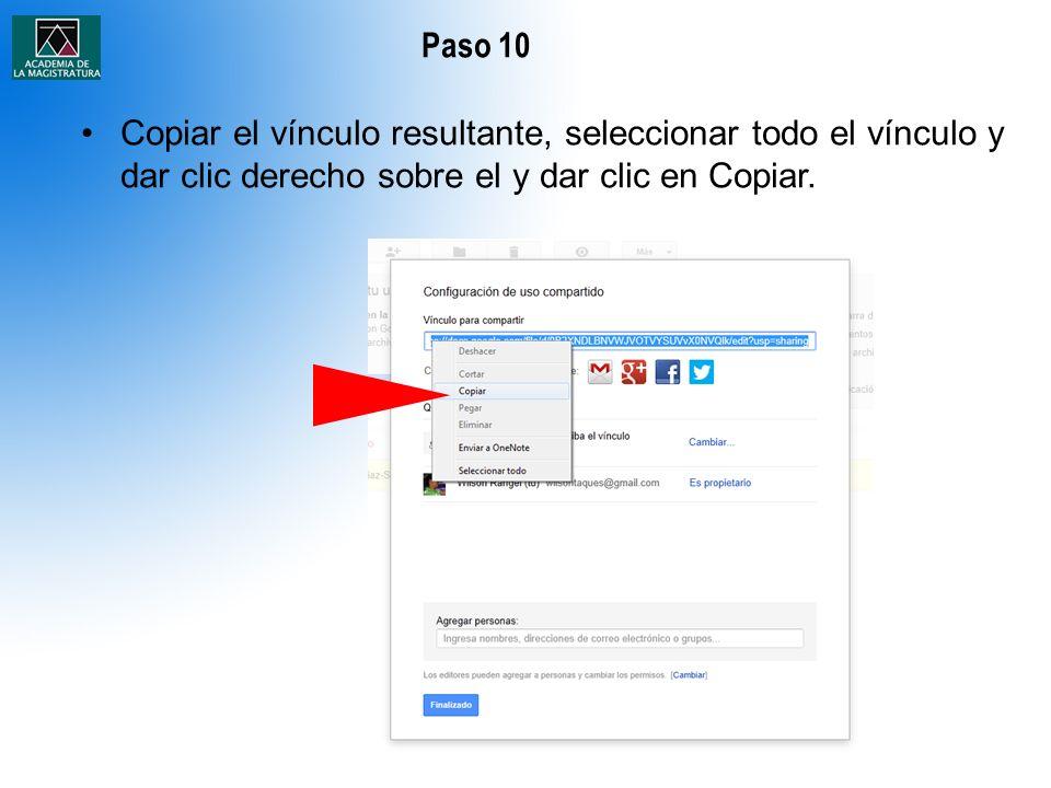 Paso 10 Copiar el vínculo resultante, seleccionar todo el vínculo y dar clic derecho sobre el y dar clic en Copiar.