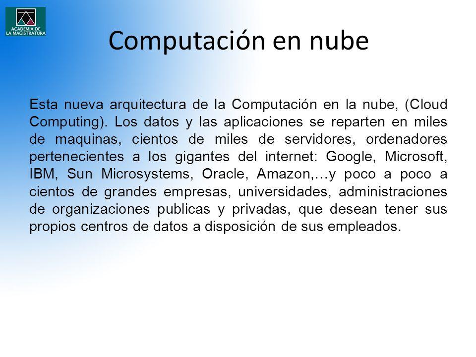 Computación en nube Esta nueva arquitectura de la Computación en la nube, (Cloud Computing). Los datos y las aplicaciones se reparten en miles de maqu