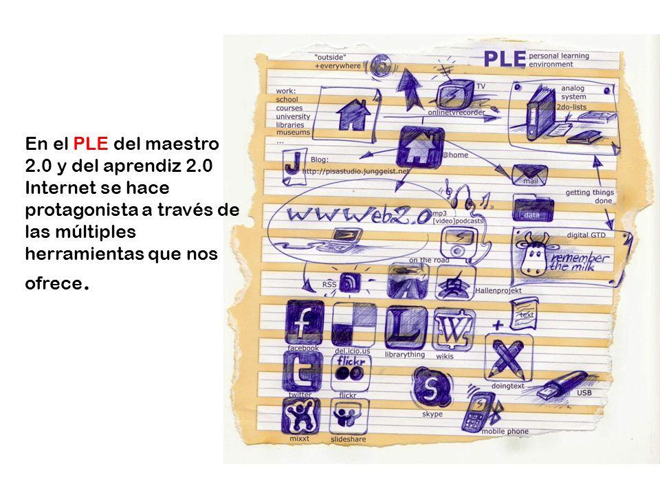 En el PLE del maestro 2.0 y del aprendiz 2.0 Internet se hace protagonista a través de las múltiples herramientas que nos ofrece.