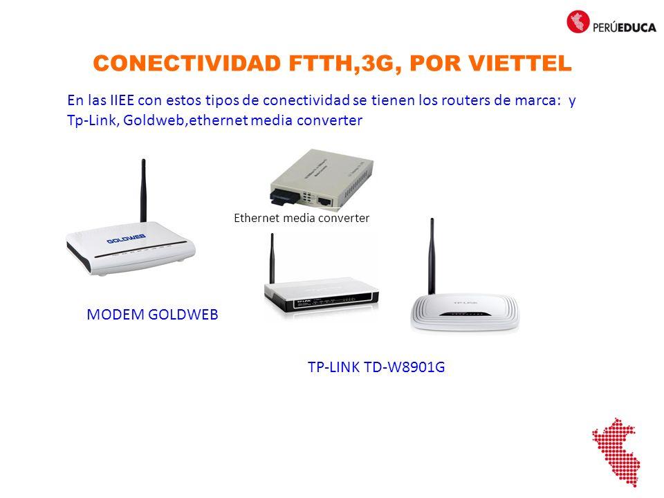 CONECTIVIDAD FTTH,3G, POR VIETTEL En las IIEE con estos tipos de conectividad se tienen los routers de marca: y Tp-Link, Goldweb,ethernet media converter Ethernet media converter TP-LINK TD-W8901G MODEM GOLDWEB