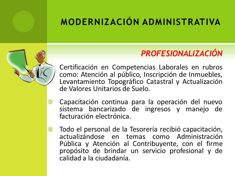 PROFESIONALIZACIÓN Certificación en Competencias Laborales en rubros como: Atención al público, Inscripción de Inmuebles, Levantamiento Topográfico Catastral y Actualización de Valores Unitarios de Suelo.