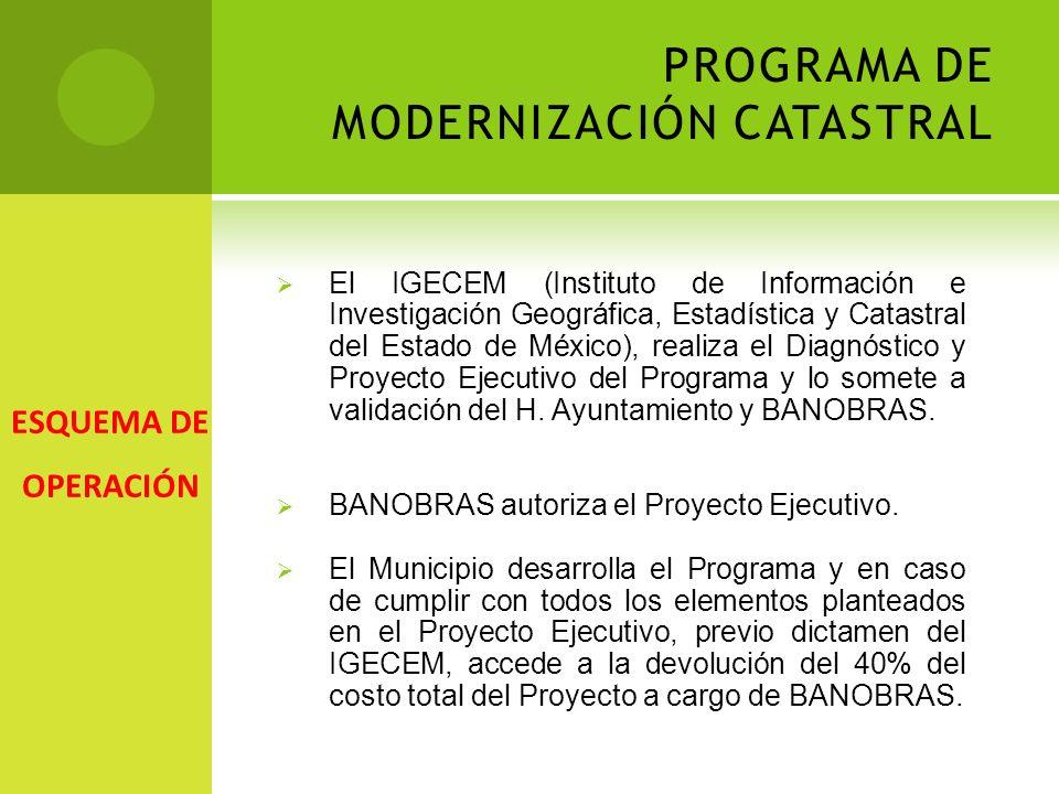 PROGRAMA DE MODERNIZACIÓN CATASTRAL El IGECEM (Instituto de Información e Investigación Geográfica, Estadística y Catastral del Estado de México), rea
