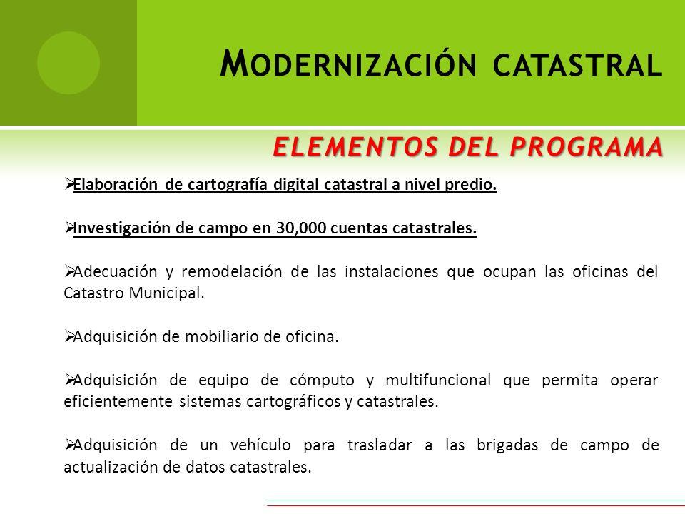 ELEMENTOS DEL PROGRAMA M ODERNIZACIÓN CATASTRAL ELEMENTOS DEL PROGRAMA Elaboración de cartografía digital catastral a nivel predio. Investigación de c