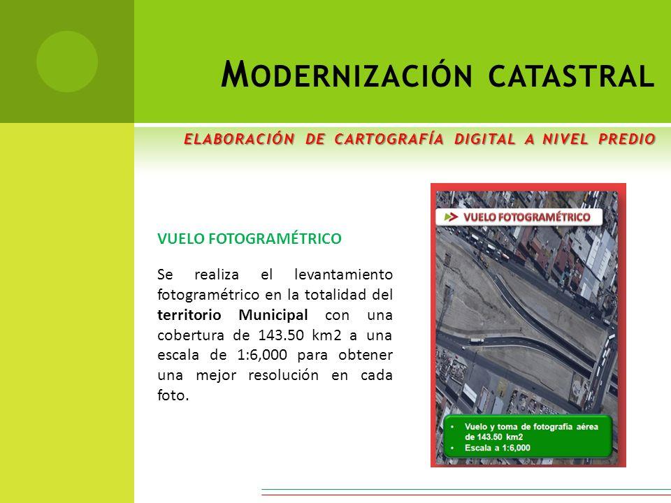 VUELO FOTOGRAMÉTRICO Se realiza el levantamiento fotogramétrico en la totalidad del territorio Municipal con una cobertura de 143.50 km2 a una escala