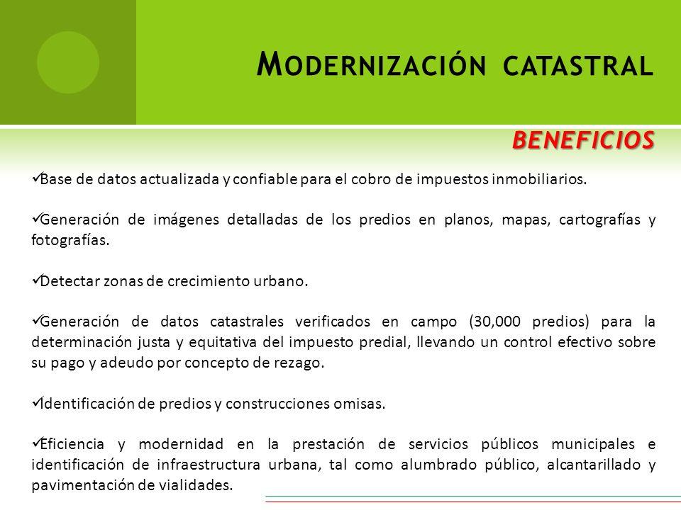 Base de datos actualizada y confiable para el cobro de impuestos inmobiliarios. Generación de imágenes detalladas de los predios en planos, mapas, car