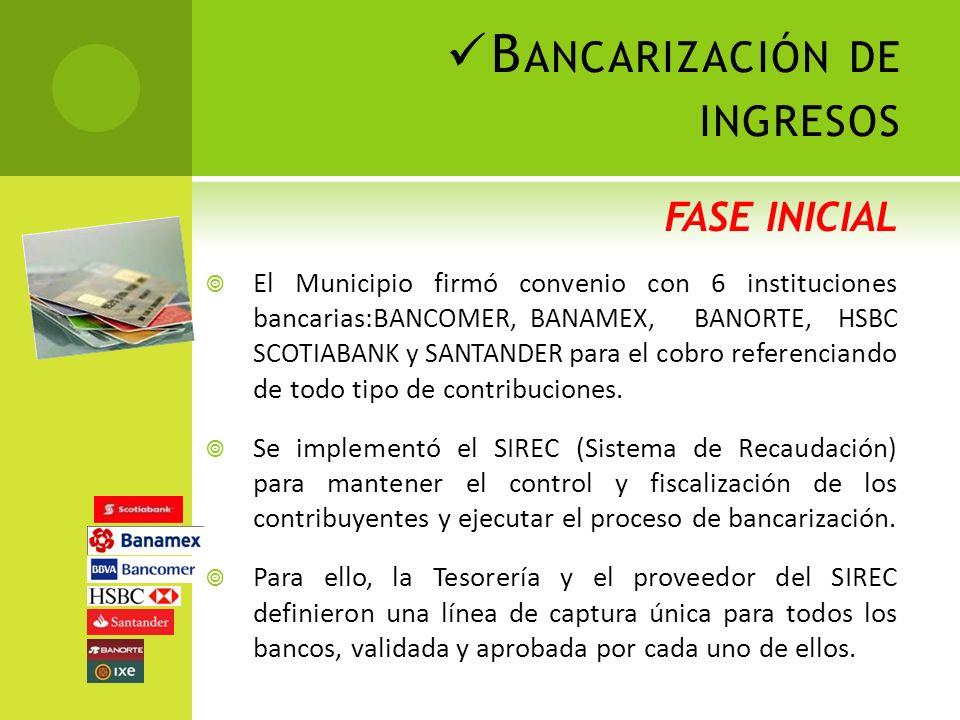 B ANCARIZACIÓN DE INGRESOS FASE INICIAL El Municipio firmó convenio con 6 instituciones bancarias:B ANCOMER, BANAMEX, BANORTE, HSBC SCOTIABANK y SANTANDER para el cobro referenciando de todo tipo de contribuciones.