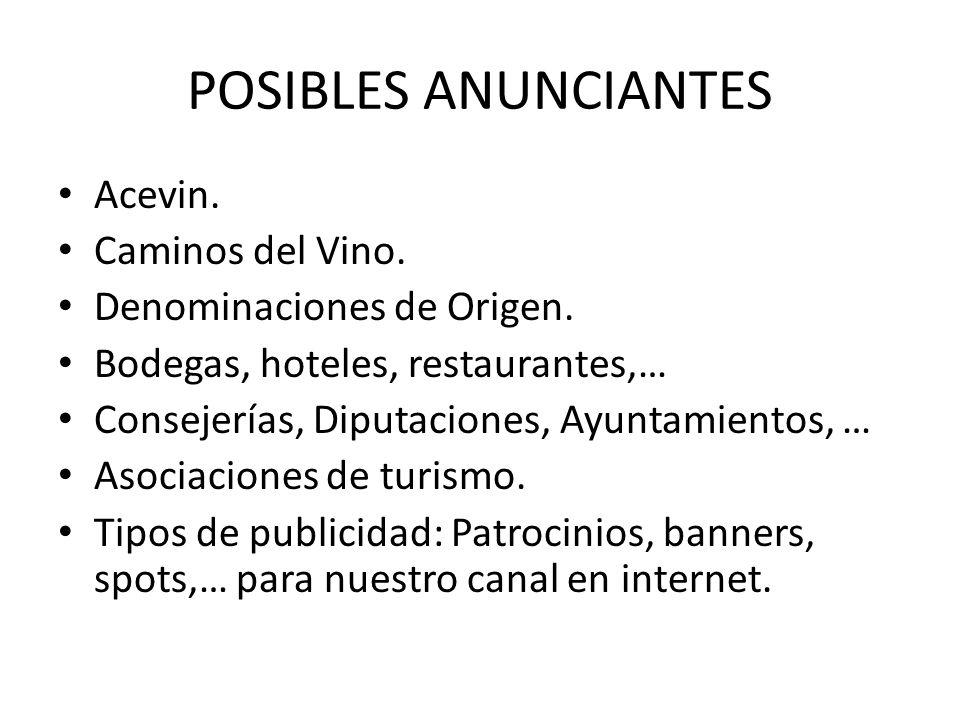 POSIBLES ANUNCIANTES Acevin. Caminos del Vino. Denominaciones de Origen. Bodegas, hoteles, restaurantes,… Consejerías, Diputaciones, Ayuntamientos, …