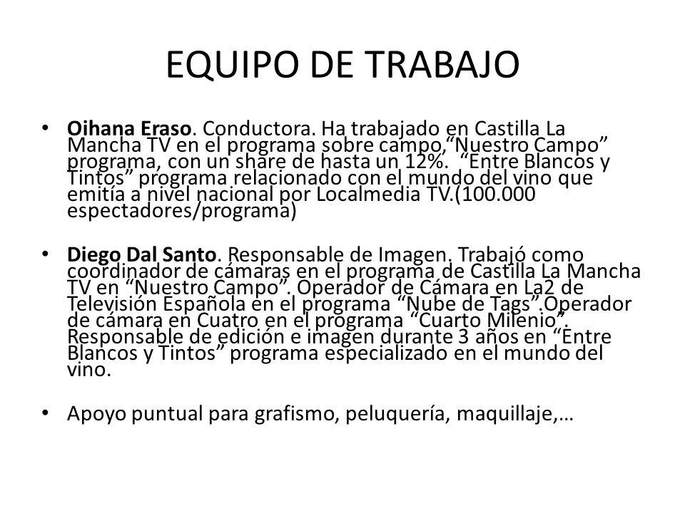 EQUIPO DE TRABAJO Oihana Eraso. Conductora. Ha trabajado en Castilla La Mancha TV en el programa sobre campo,Nuestro Campo programa, con un share de h