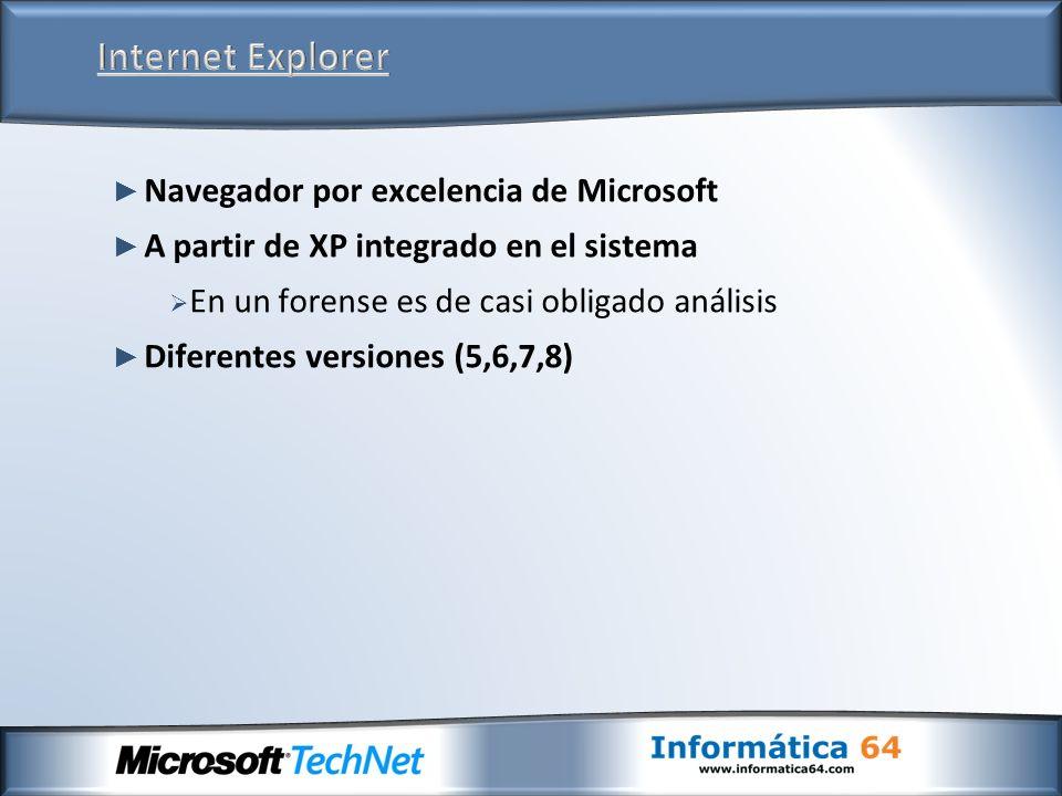 Navegador por excelencia de Microsoft A partir de XP integrado en el sistema En un forense es de casi obligado análisis Diferentes versiones (5,6,7,8)